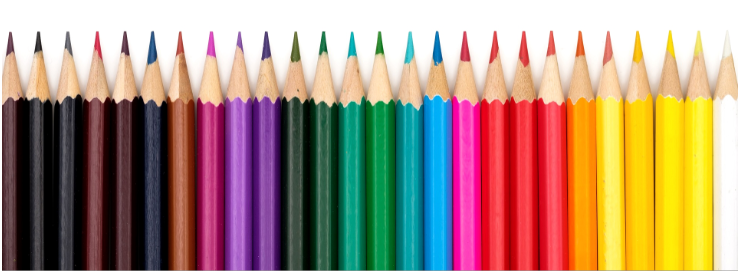Twenty-six coloured pencils lined up neatly in a row.