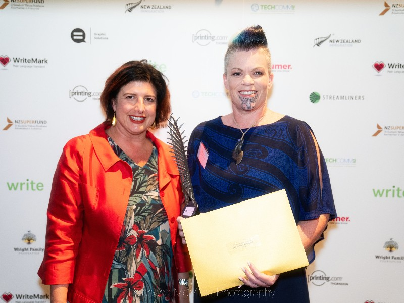 Shelly Davies, right, collects the Turnaround trophy from sponsor Anne-Marie Masgoret, INZ, on behalf of Brydon Davidson at Infinite Possibilities. Photo by Rebecca McMillan Photography.