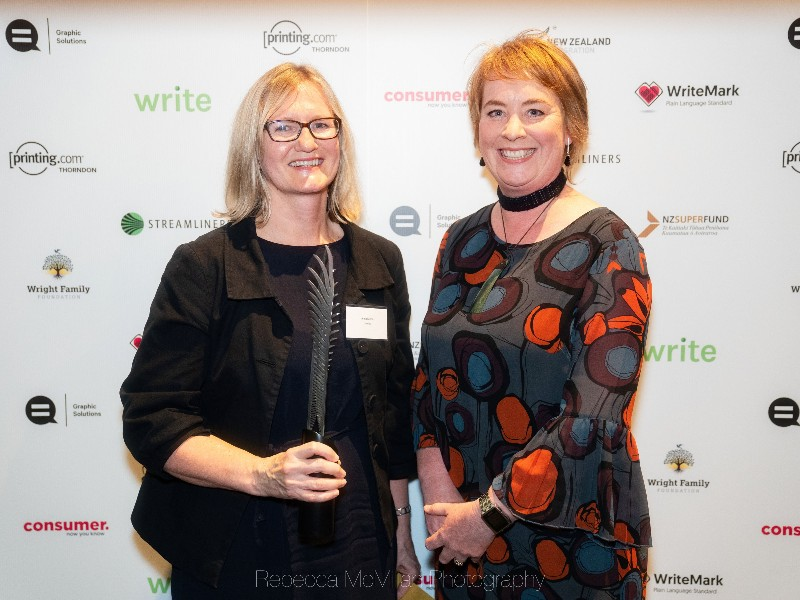 Anna Lorkin from Sysdoc, left, representing winner Kaye Rayner with sponsor Emma Harding from Streamliners. Photo by Rebecca McMillan Photography.