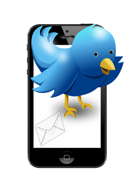A blue bird standing on a black iPhone, cupping its left wing to its mouth as if it were calling out.